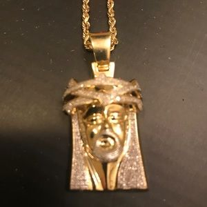 Other - Diamond Jesus Pieces w/gold rope chain